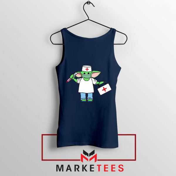 Baby Yoda Covid19 Navy Blue Tank Top
