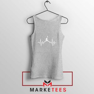 Basketball Heartbeat Dunk Sport Grey Tank Top