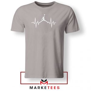 Basketball Heartbeat Dunk Sport Grey Tshirt