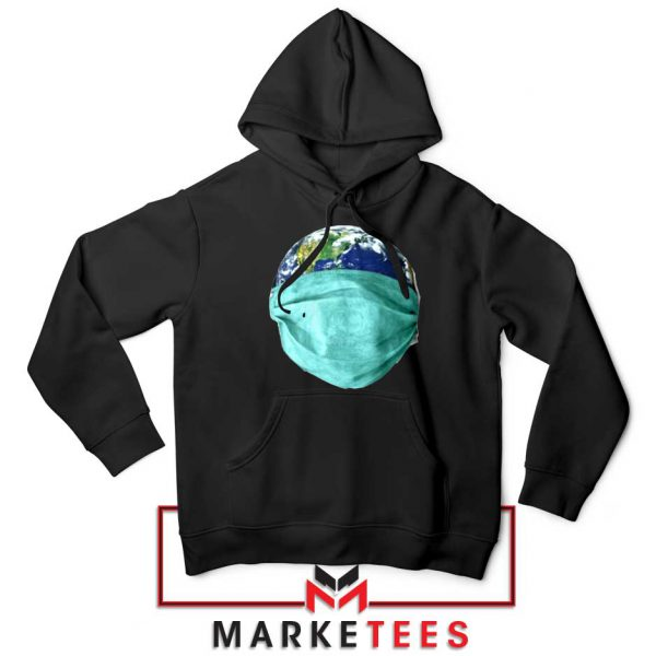 Earth Mask Coronavirus Black Hoodie