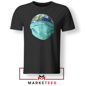 Earth Mask Coronavirus Black Tshirt