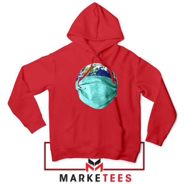 Earth Mask Coronavirus Red Hoodie