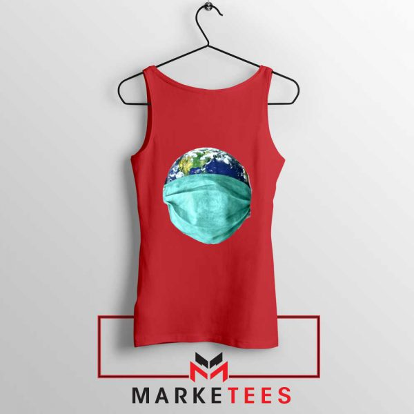 Earth Mask Coronavirus Red Tank Top