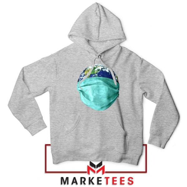 Earth Mask Coronavirus Sport Grey Hoodie