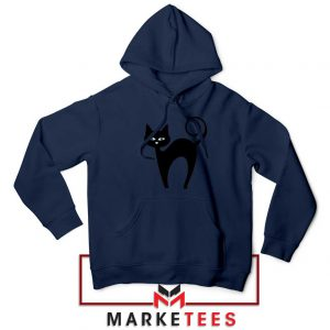Glowing Cat Eyes Navy Blue Hoodie