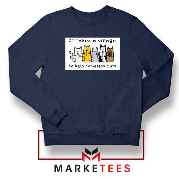 It Takes Village Cat Navy Blue Sweatshirt