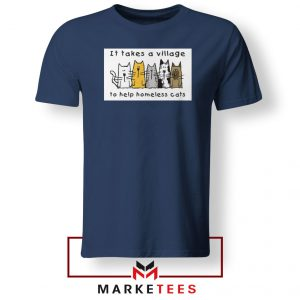 It Takes Village Cat Navy Blue Tshirt