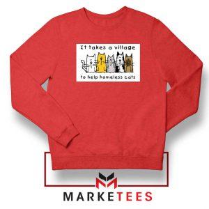 It Takes Village Cat Red Sweatshirt