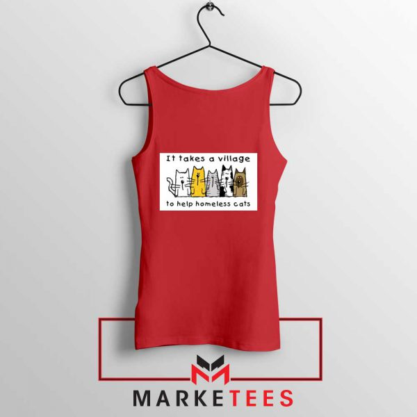 It Takes Village Cat Red Tank Top