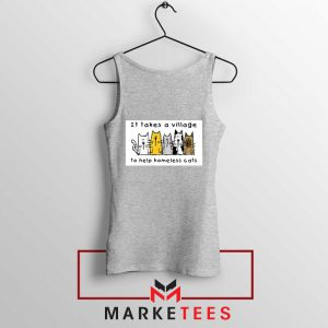 It Takes Village Cat Sport Grey Tank Top