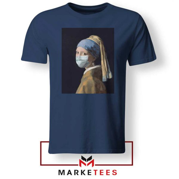 Mask Girl Coronavirus Navy BLue Tshirt