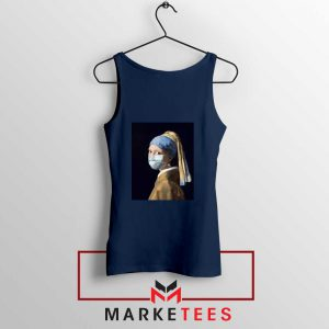 Mask Girl Coronavirus Navy Blue Tank Top