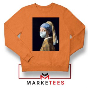 Mask Girl Coronavirus Orange Sweatshirt