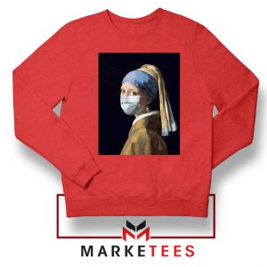 Mask Girl Coronavirus Red Sweatshirt
