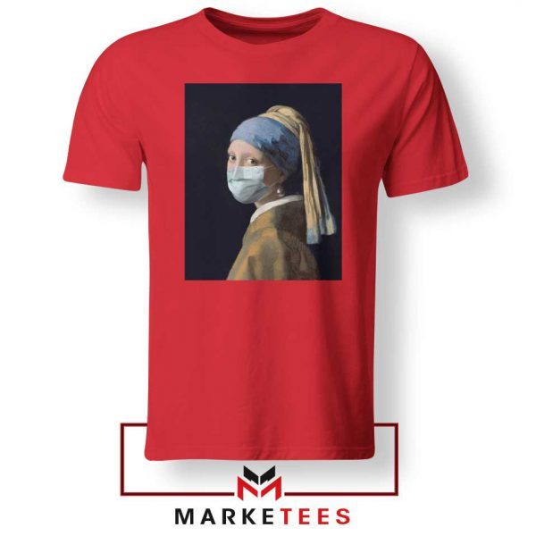 Mask Girl Coronavirus Red Tshirt