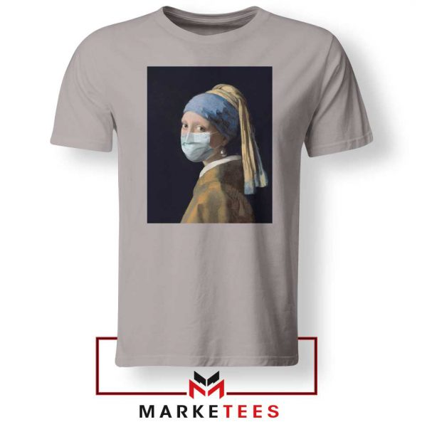 Mask Girl Coronavirus Sport Grey Tshirt