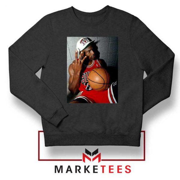 Michael Jordan Three Peat Black Sweatshirt