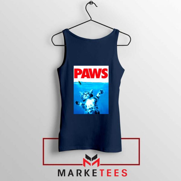 Paws Cat and Mouse Navy Blue Tank Top
