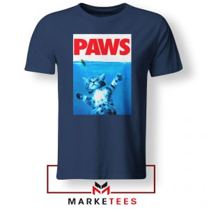 Paws Cat and Mouse Navy Blue Tshirt