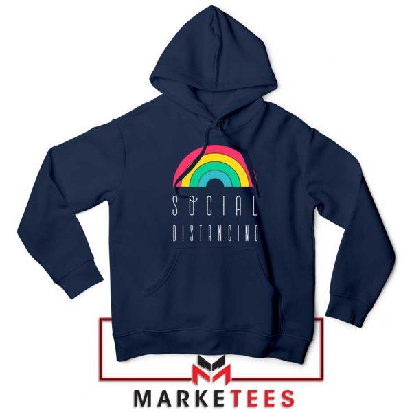 Social Distancing Rainbow Navy Blue Hoodie