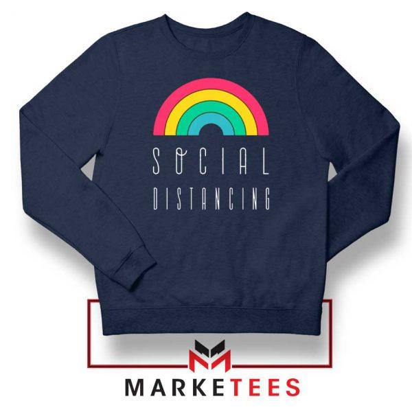 Social Distancing Rainbow Navy Blue Sweatshirt