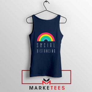 Social Distancing Rainbow Navy Blue Tank Top