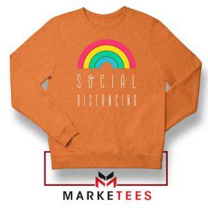 Social Distancing Rainbow Orange Sweatshirt