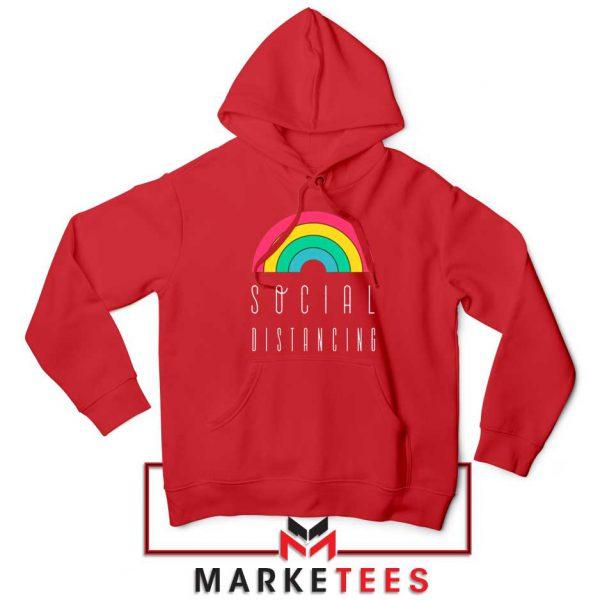 Social Distancing Rainbow Red Hoodie