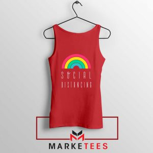 Social Distancing Rainbow Red Tank Top