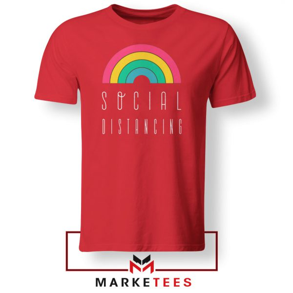 Social Distancing Rainbow Red Tshirt