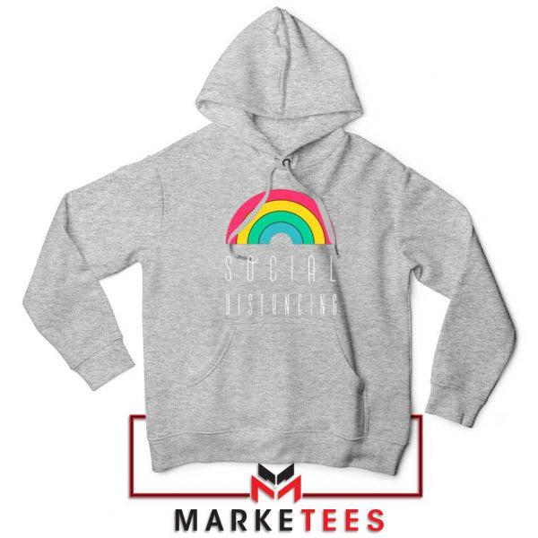Social Distancing Rainbow Sport Grey Hoodie