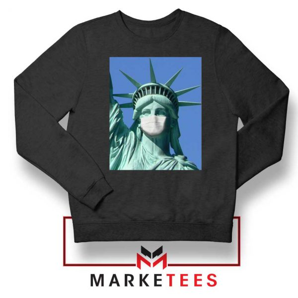 Statue of Liberty Mask Black Sweatshirt
