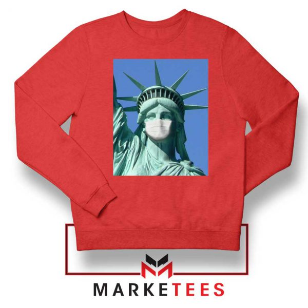 Statue of Liberty Mask Red Sweatshirt