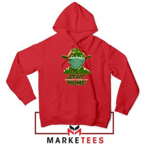 Stay Home Yoda Red Hoodie