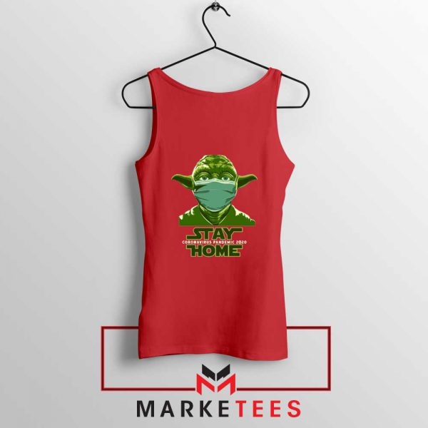 Stay Home Yoda Red Tank Top