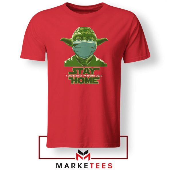 Stay Home Yoda Red Tshirt