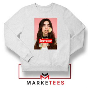 Supreme Parody Dua Lipa White Sweatshirt