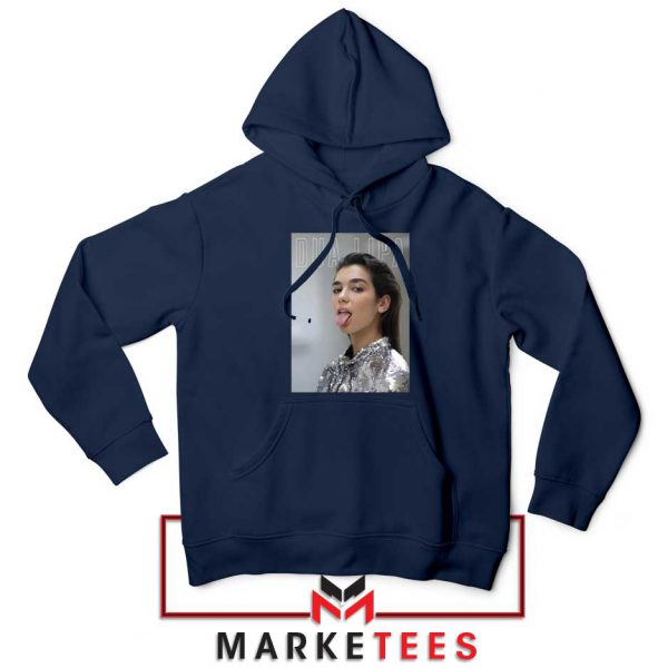 Tongue Out Poster Dua Lipa Navy Blue Hoodie