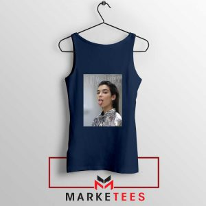 Tongue Out Poster Dua Lipa Navy Blue Tank Top