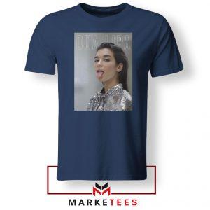 Tongue Out Poster Dua Lipa Navy Blue Tshirt