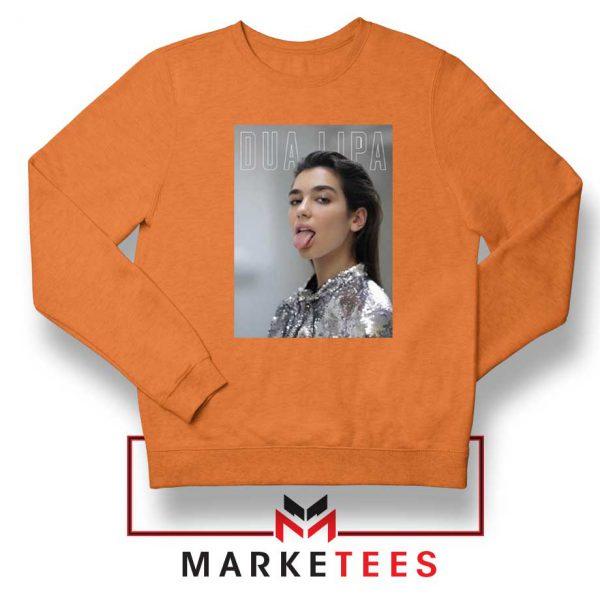 Tongue Out Poster Dua Lipa Orange Sweatshirt