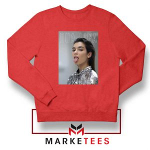 Tongue Out Poster Dua Lipa Red Sweatshirt