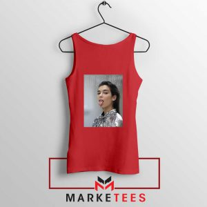Tongue Out Poster Dua Lipa Red Tank Top