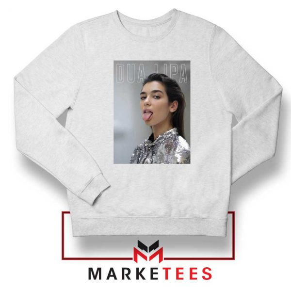 Tongue Out Poster Dua Lipa White Sweatshirt