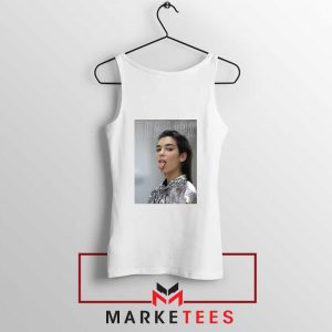 Tongue Out Poster Dua Lipa White Tank Top