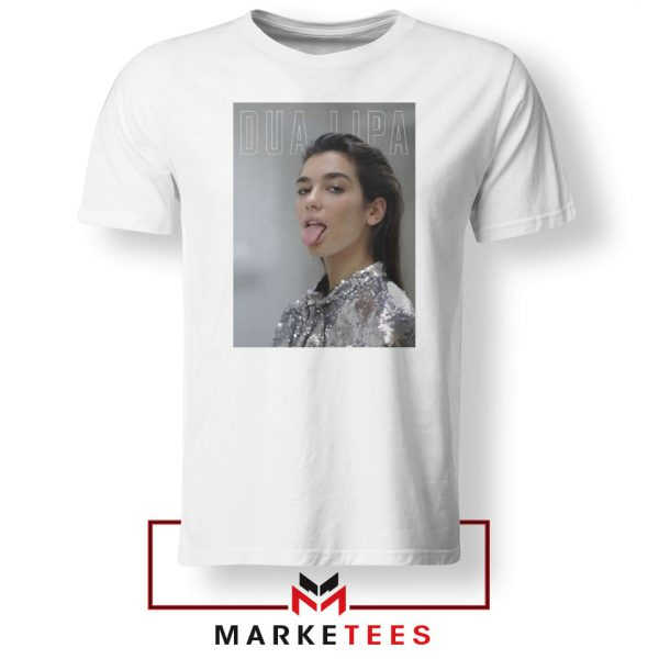 Tongue Out Poster Dua Lipa White Tshirt