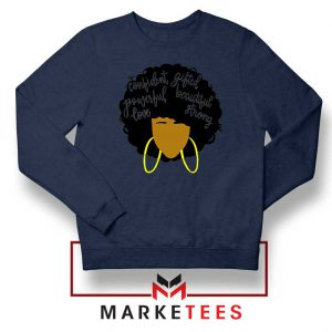 African American Woman Navy Blue Sweatshirt