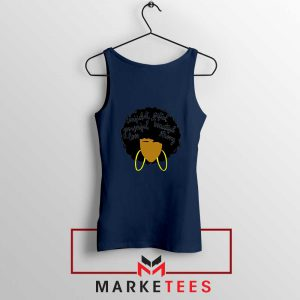 African American Woman Navy Blue Tank Top
