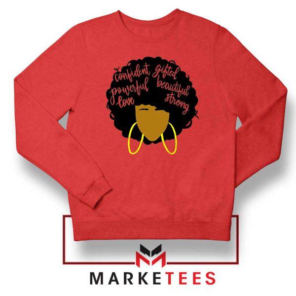 African American Woman Red Sweatshirt