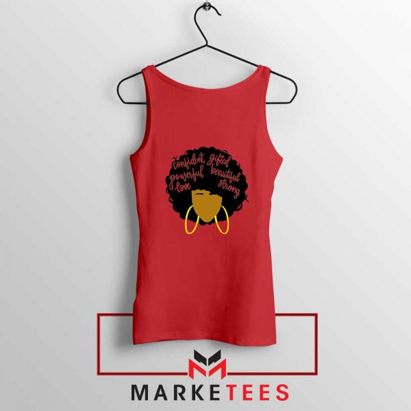African American Woman Red Tank Top